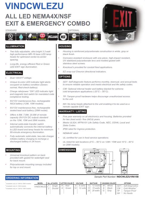 LED NEMA4X/NSF EXIT & EMERGENCY COMBO