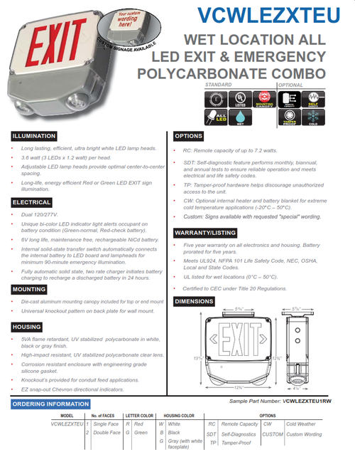 WET LOCATION ALL LED EXIT & EMERGENCY POLYCARBONATE COMBO