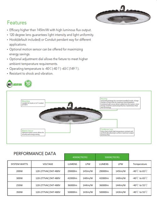 200 to 350 Watt Round LED Highbay Light