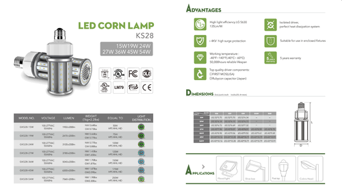 LED Corn Lamps, 15 through 54 Watt