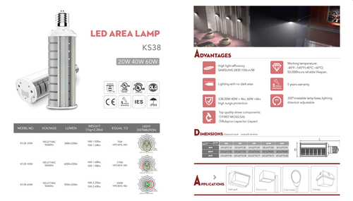 LED Area Light Retrofit Lamps-20, 40 and 60 Watt