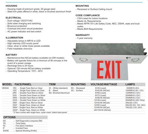 Recessed Edgelite Exit/Emergency Combination Sign