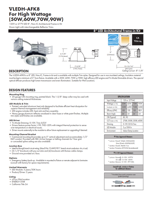 """8"""" High Wattage LED Recessed Commercial Downlight"""