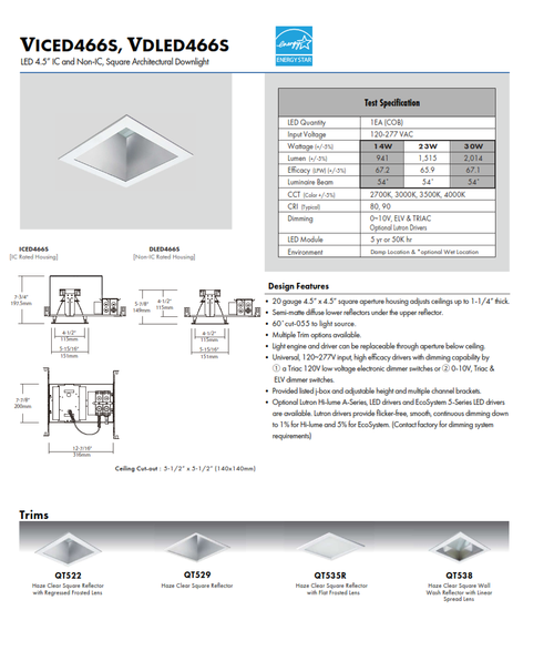 """4.5"""" LED Shallow Square Recessed Downlight"""