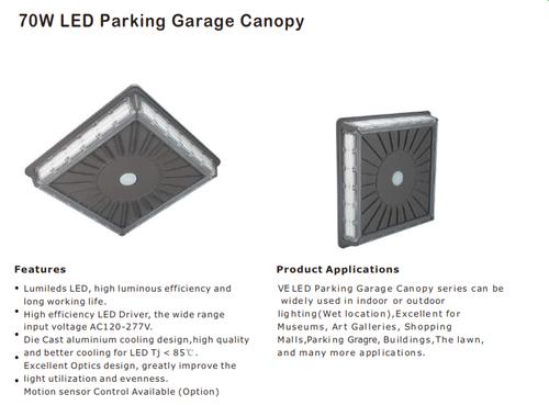 LED 70 Watt Parking Garage Canopy Light