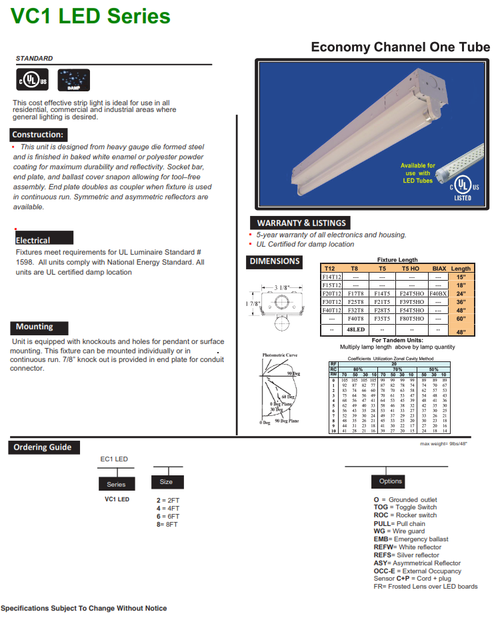 VC1 Strip Light for LED Tubes