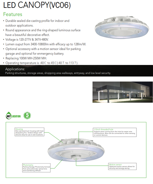 LED Architectural Canopy Light and Garage Light