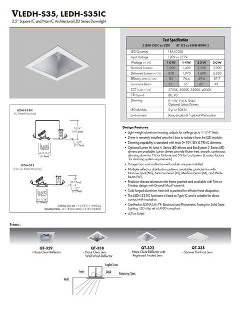 "VLEDH-S35   3.5"" LED Square Commercial Downlight"