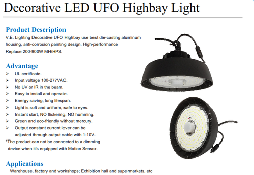 Decorative Round LED Highbay, 100 through 240 Watts