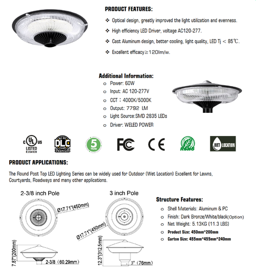 Round LED Post Top Light