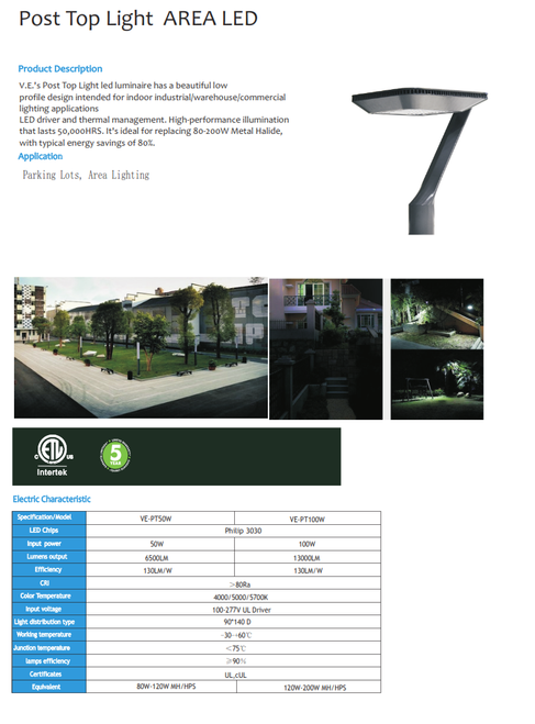 Decorative Commercial LED Post Top Area Light