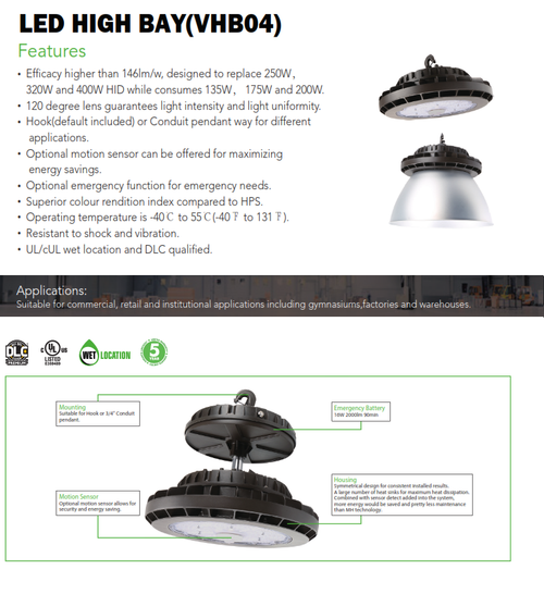 LED Round Highbay with and without Reflector