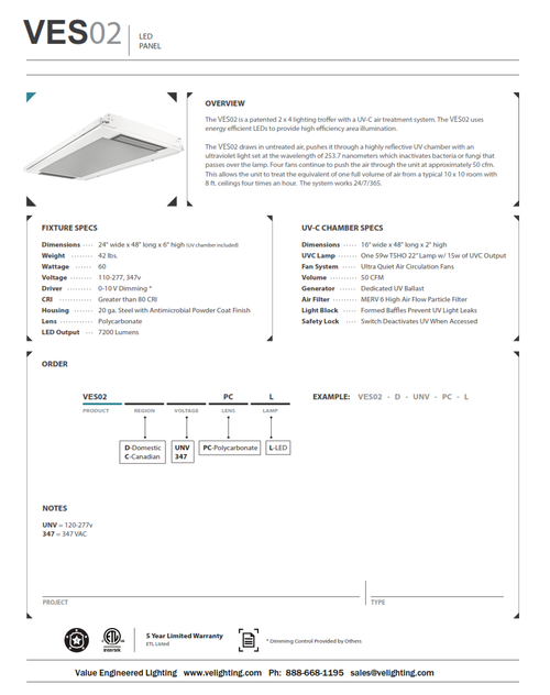 VES02  2x4 LED Panel with UV-C Air Cleaning System