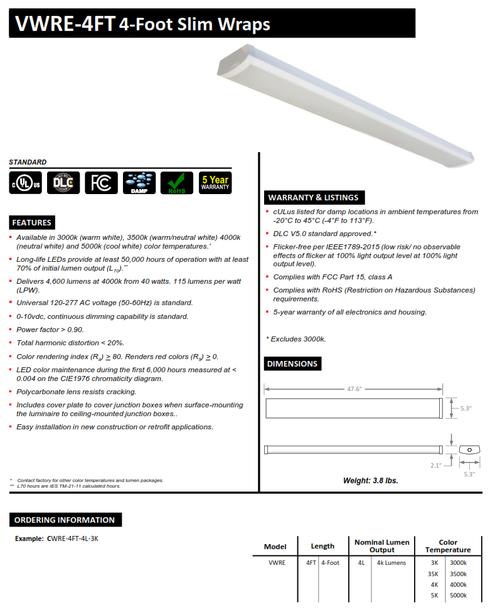 4' LED Slim Wraparound Fixture