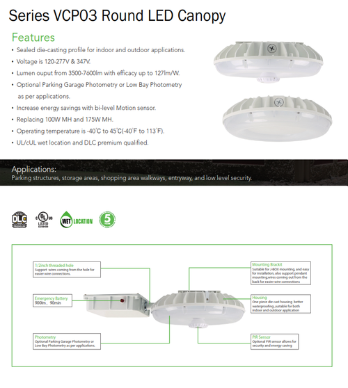 Series VCP03 Round LED Canopy Light