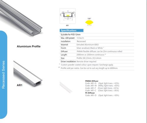 Aluminum Recessed Extrusion   AR1 Series