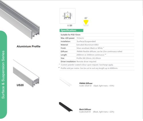 Suspended Aluminum Extrusions   Series US20