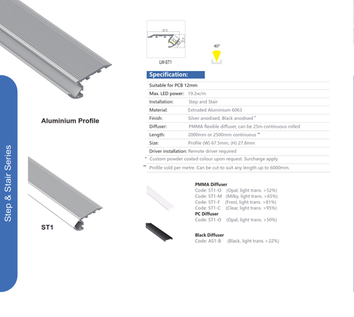 Aluminum Step Extrusions   Series ST1