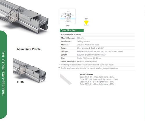 Trimless Recessed Aluminum Extrusion  Series TR35