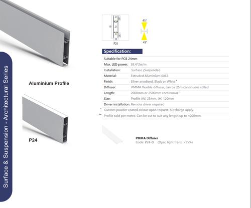 Surface/Suspension Architectural Aluminum Extrusion  Series P24