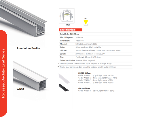 Recessed Architectural Aluminum Extrusion   Series WN31