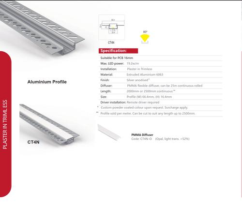 Plaster Trimless Aluminum Extrusion   Series CT4N