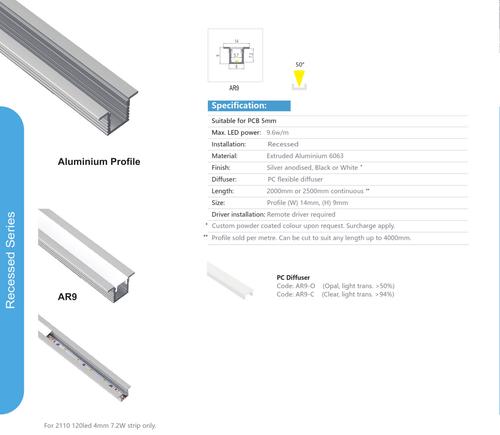 Recessed Aluminum Extrusion  Series AR9