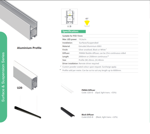 Surface/Suspended Aluminum Extrusion  Series U20