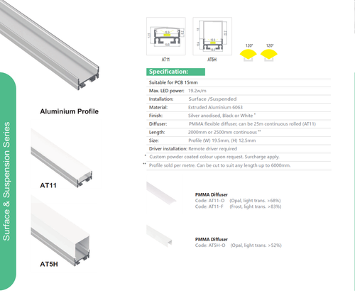 Suspended Aluminum Extrusions   Series AT11 and AT5H