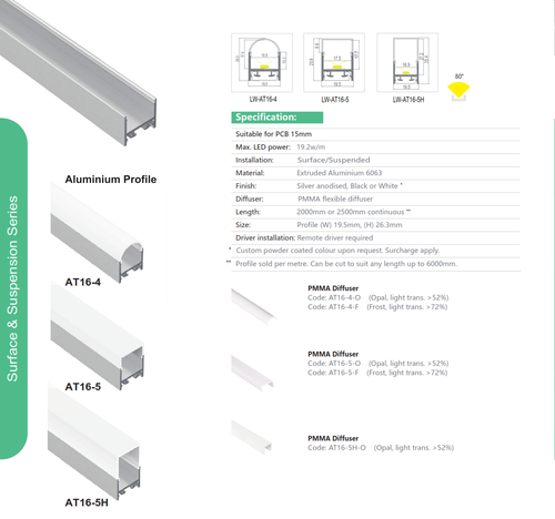 Surface/Suspension Architectural Aluminum Extrusion  Series AT16