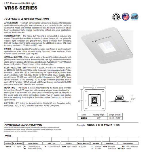 LED Recessed Commercial Canopy Light