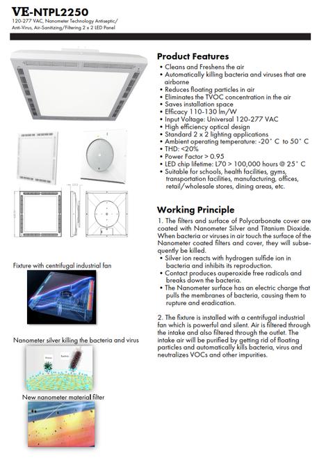 2X2 Nanometer Anti-Germ/Anti-Viral LED Recessed Panel LIght