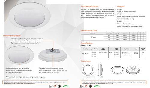 VE-3601 LED Round Canopy Light