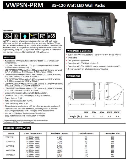 35-120 Watt LED Wallpack