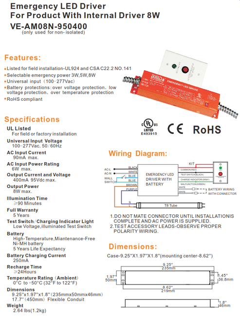 8 Watt LED Emergency LED Driver for use with Internal Driver Fixtures