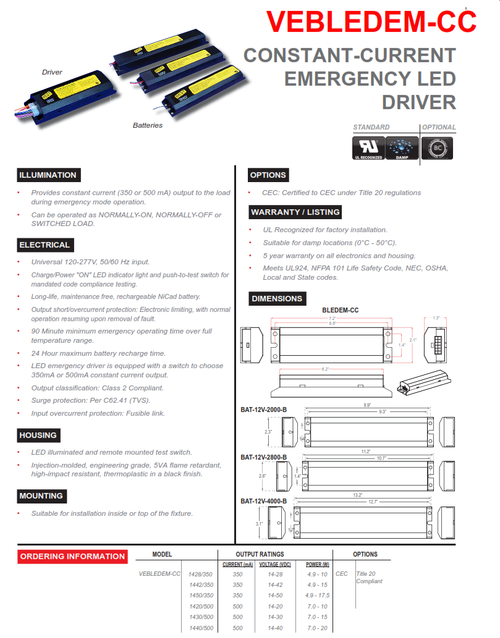 Constant Current LED Emergency Battery and Driver