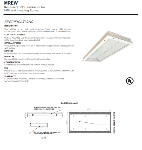 1x4, 2x2 and 2x4 Recessed Luminaire for MRI and Imaging Suites