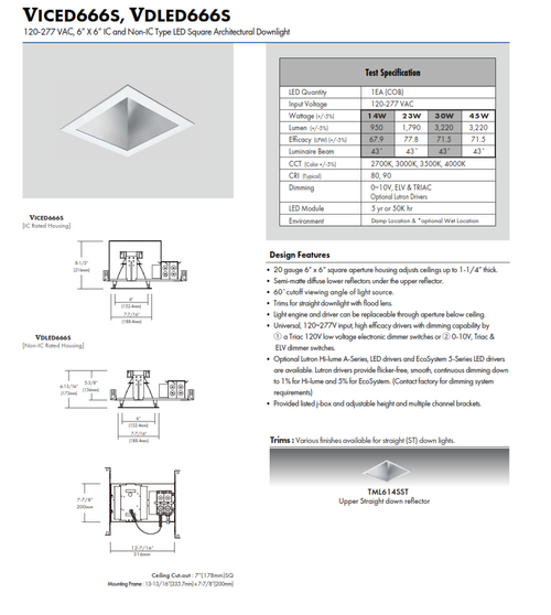 """6"""" LED Square Architectural Shallow Square Downlight"""