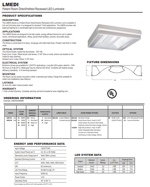 Patient Room Direct/Indirect Recessed LED Luminaire