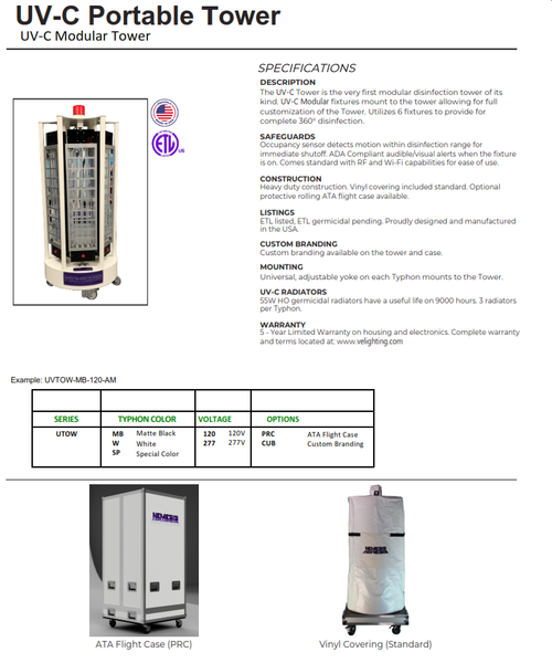 UV-C Portable High Power Tower Disinfection Light