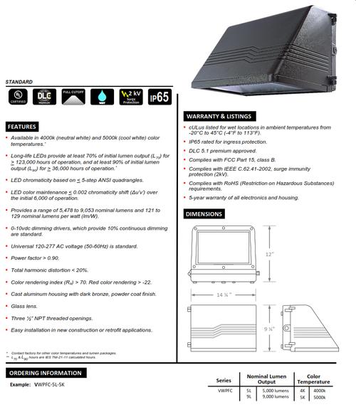 Full Cutoff LED Dark Skies Wallpack (5000 and 9000 Lumens)
