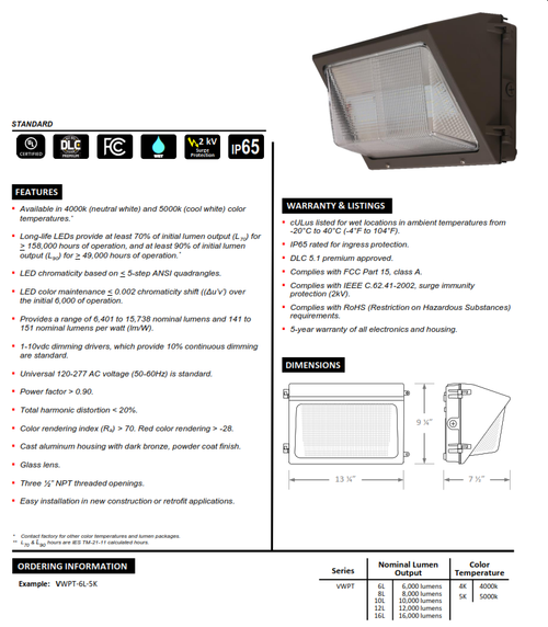 Traditional LED Wallpack (6,000-16,000 Lumens)