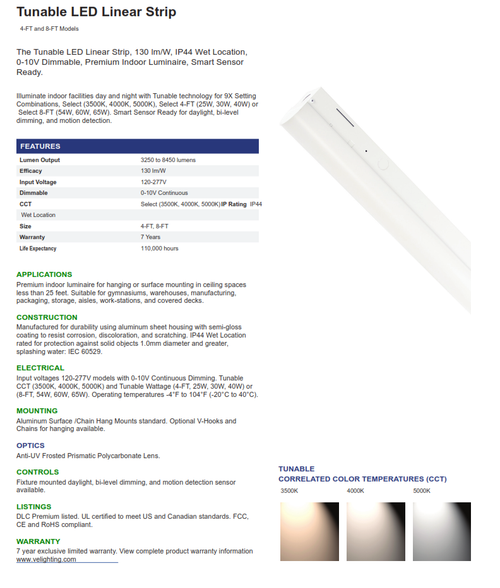 LED Tunable 4' and 8' Lensed Strip Light