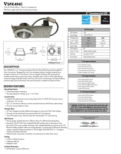 """4"""" LED Commercial Economical Recessed Downlight"""