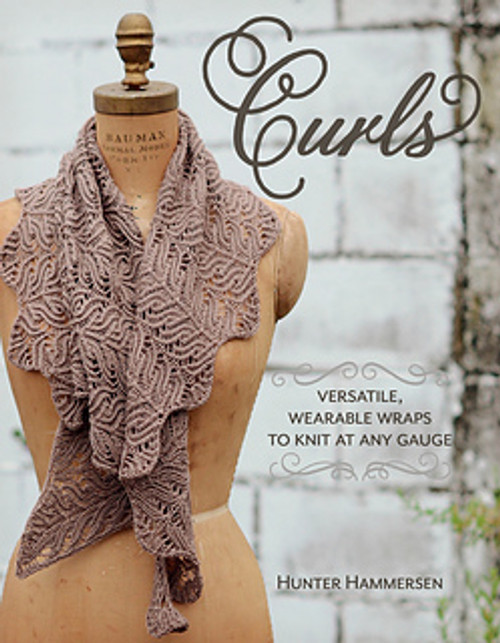Curls are marvelously flexible, wearable wraps that work with any weight of yarn, can be knit at any gauge, and look beautiful at any size.  Knit them small and wear them as a cowl. Keep going to make a scarf. Do a bit more, and you've got a shawl. They form a wonderfully curved shape that drapes beautifully around your neck and shoulders and can be worn in lots of different ways.  Use your favorite yarn, and knit at whatever gauge gives you the fabric you like best. You're in charge, you can't mess it up, and you're going to love the result!  One small note, the structure of these pieces lends itself much better to charted instructions than to written out instructions. So please be aware that all the patterns use charts. If you're new to charts, never fear. There is a lovely introduction to using charts at the front of the book. Read through it, and you'll be ready to go in no time!