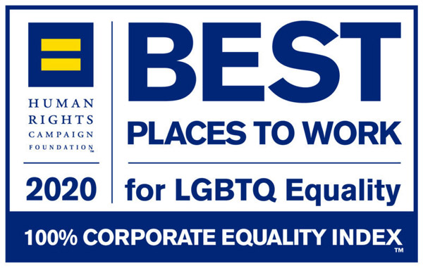 Best places to work for LGBTQ Equality. Human Rights Campaign Foundation 2020. 100% Corporate Equality Index.