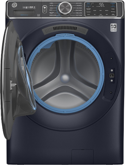 GE Appliances' UltraFresh Front Load Washer - a sleek, navy blue washing machine with the door open.