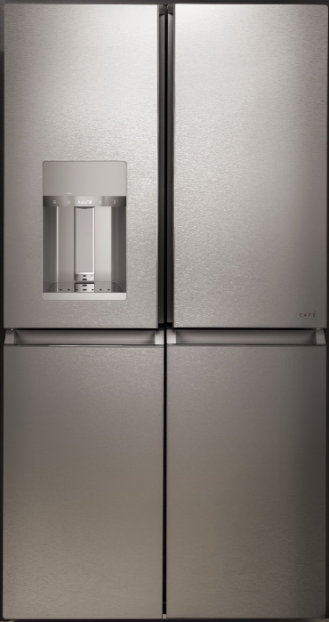 Minimalist four door silver refrigerator.