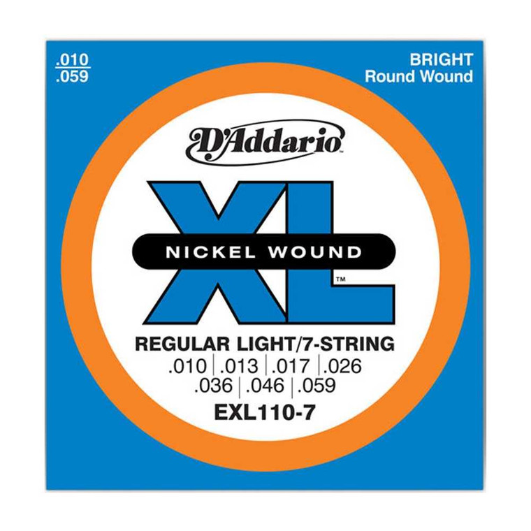 D'Addario, EXL110-7, 10-59, Nickel, Wound, Reg-Light, 7-String, Electric, Guitar, Strings