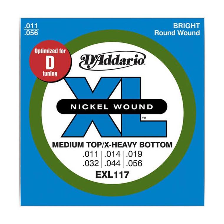D'Addario, EXL117, 11-56, Nickel, Wound, Medium, Top/Extra-Heavy, Bottom, Electric, Guitar, Strings